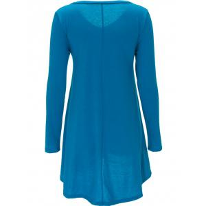 Long Sleeve Tee Dress - MEDIUM BLUE XL