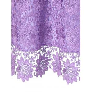 Knee Length Openwork Sheer Lace Dress -