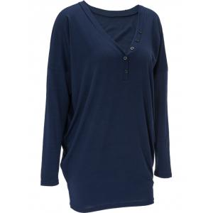 V Neck Front Button Long Sweatshirt - DEEP BLUE XL