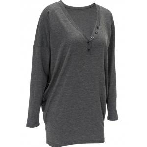 V Neck Front Button Long Sweatshirt - GRAY XL
