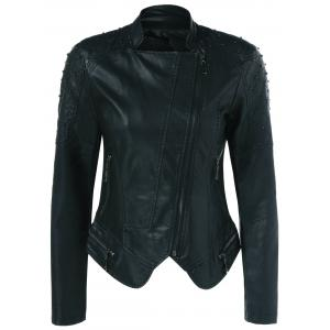 Rivet Faux Leather Biker Jacket -