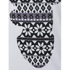 Abstract Elk Print T-Shirt - WHITE AND BLACK M