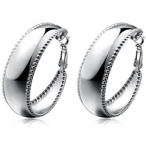 Polished Beaded Edge Curved Hoop Earrings -