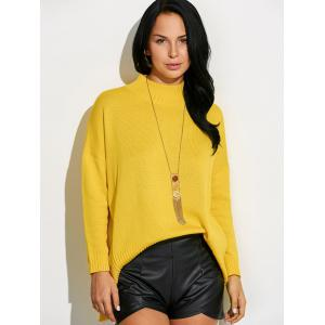 High Neck Asymmetric Slit Sweater - GINGER ONE SIZE
