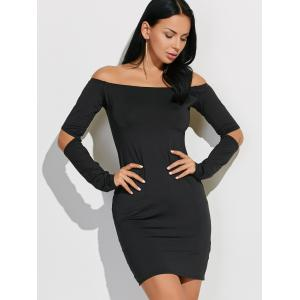 Off-The-Shoulder Cut Out Bodycon Dress - BLACK XL