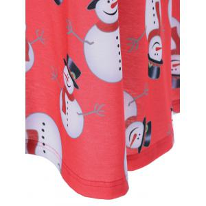 Plus Size Christmas Snowman Print Dress - BLACK/WHITE/RED 5XL