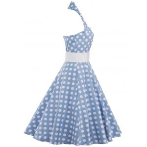 Polka Dot Halter Vintage Dress - AZURE 2XL