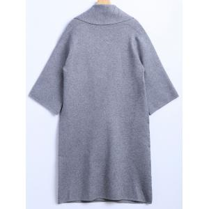 Puzzle Patch Pocket Woolen Cardigan - LIGHT GRAY ONE SIZE