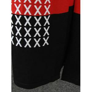 Color Splicing Cross Pattern Knitted Cardigan - BLACK AND WHITE AND RED 4XL