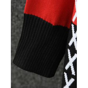 Color Splicing Cross Pattern Knitted Cardigan - BLACK/WHITE/RED 4XL