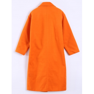 Pocket Design Long Lapel Woolen Overcoat - ORANGEPINK 4XL