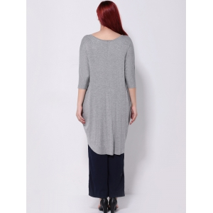 Asymmetric Batwing Sleeves T-Shirt - GRAY 5XL
