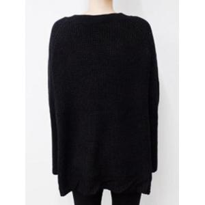 Batwing Sweater with Criss Cross Bandage - BLACK ONE SIZE
