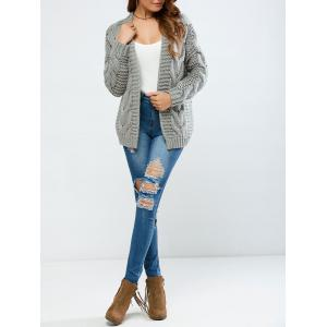 Cable Collarless Cardigan -