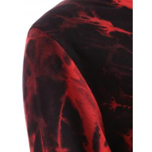 Tie Dye Long Sleeve Asymmetric Short T-Shirt Dress - DARK RED XL