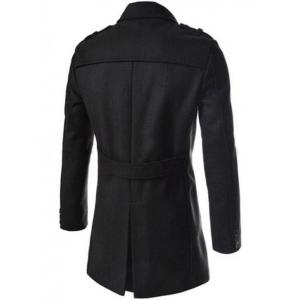 Asymetrical Zipper Lapel Wool Blend Coat - BLACK 2XL