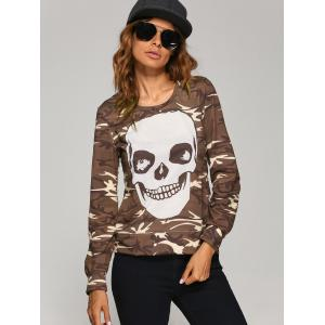 Long Sleeve  Skull Camo Halloween T-Shirt -