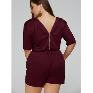 Zip Up V-Neck Half Sleeve Plus Size Romper -