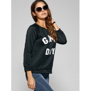 Game Day Print Pullover Sweatshirt - BLACK L