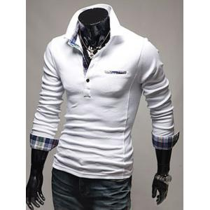 Front Pocket Plaid Splicing Long Sleeve Polo T-Shirt - WHITE 2XL