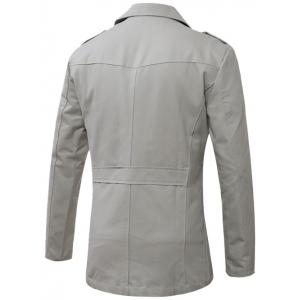 Turn-Down Collar Single-Breasted Epaulet Trench Coat - GRAY L
