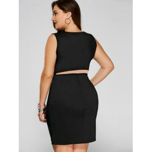 Plus Size Zip Ruched Bandage Club Dress - BLACK 3XL