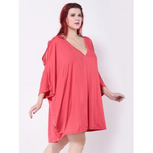 Asymmetric Cold Shoulder Batwing Sleeves Dress -