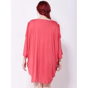 Asymmetric Cold Shoulder Batwing Sleeves Dress - WATERMELON RED 5XL