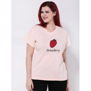 Strawberry Print Short Sleeve T-Shirt -