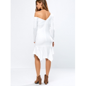 Off-The-Shoulder Long Sleeve Asymmtric Flouncing Dress - WHITE XL