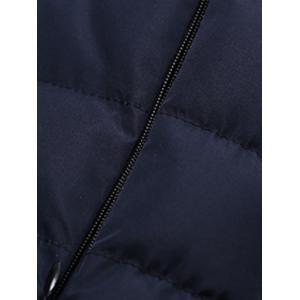 Hooded Zip-Up Splicing Quilted Jacket - CADETBLUE 3XL