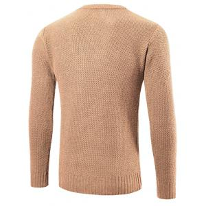 Ribbed Trim Patched Crew Neck Knit Sweater - KHAKI 2XL