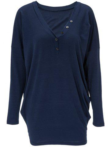 Discount V Neck Front Button Long Sweatshirt DEEP BLUE XL