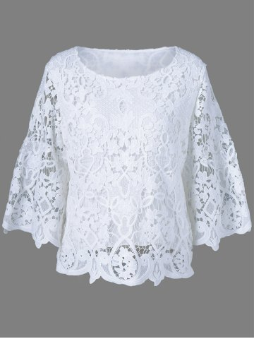 White One Size Bell Sleeve Sheer Lace Blouse Rosegal Com