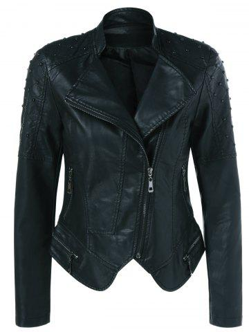 Affordable Rivet Faux Leather Biker Jacket
