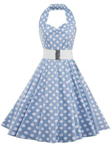 Unique Polka Dot Halter Vintage Dress AZURE 2XL