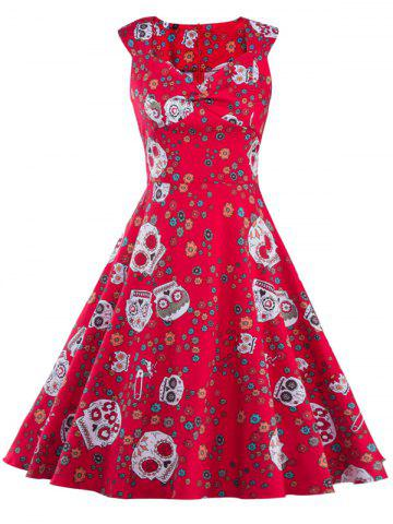 Store Vintage Print Fit and Flare Dress RED 2XL