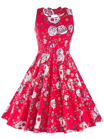 Affordable Vintage Print Cut Out Fit and Flare Dress RED 2XL