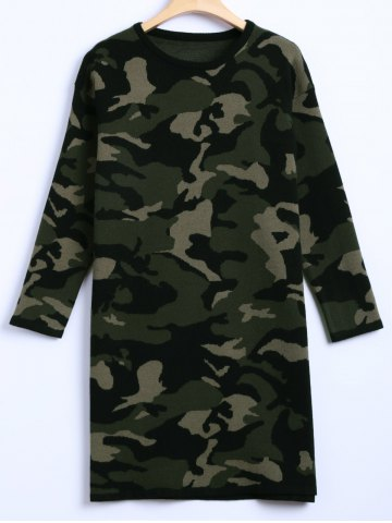 Buy Camouflage Plus Size Sweater Dress
