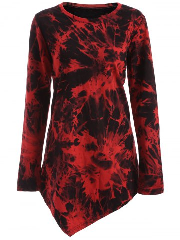 Outfits Tie Dye Long Sleeve Asymmetric Short T-Shirt Dress DARK RED XL