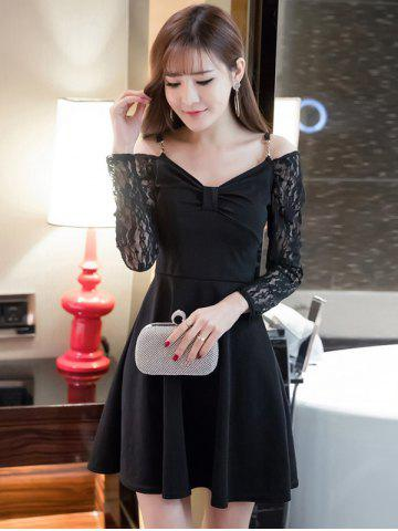 New Cold Shoulder Lace Splicing Swing Dress BLACK M