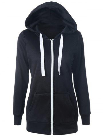 Chic Casual Drawstring Long Sleeve Zipper Up Hoodie BLACK S