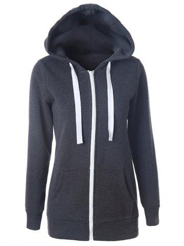 Cheap Casual Drawstring Long Sleeve Zipper Up Hoodie DEEP GRAY S