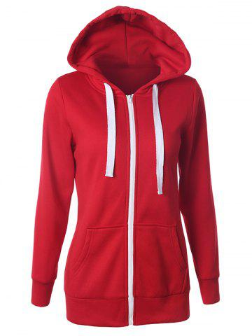 Affordable Casual Drawstring Long Sleeve Zipper Up Hoodie - 2XL RED Mobile
