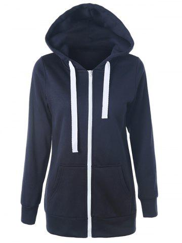Buy Casual Drawstring Long Sleeve Zipper Up Hoodie