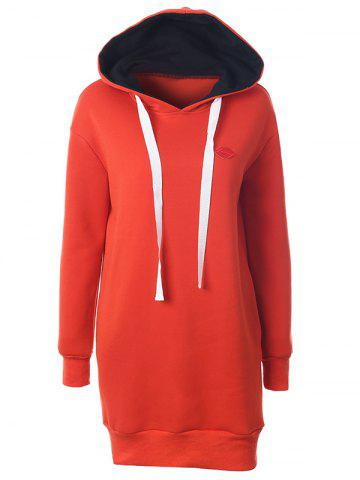 Outfits Casual Long Sleeve Lip Mini Hoodie Dress DARKSALMON 2XL