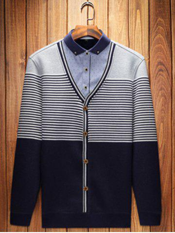 Button-Down Collar Striped Pullover Faux Twinset Top
