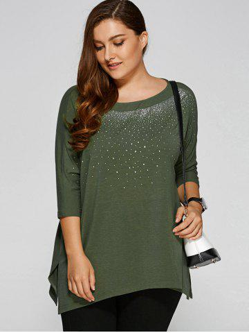 Sale Plus Size Rhinestoned Embellished Smock T-Shirt ARMY GREEN 5XL