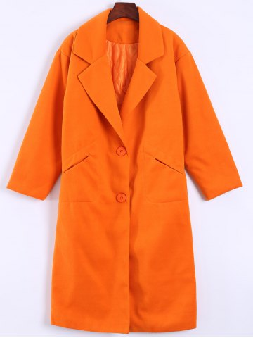 Chic Pocket Design Long Lapel Woolen Overcoat ORANGEPINK 4XL