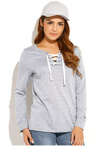 Unique Criss-Cross Pullover Sweatshirt - M LIGHT GRAY Mobile